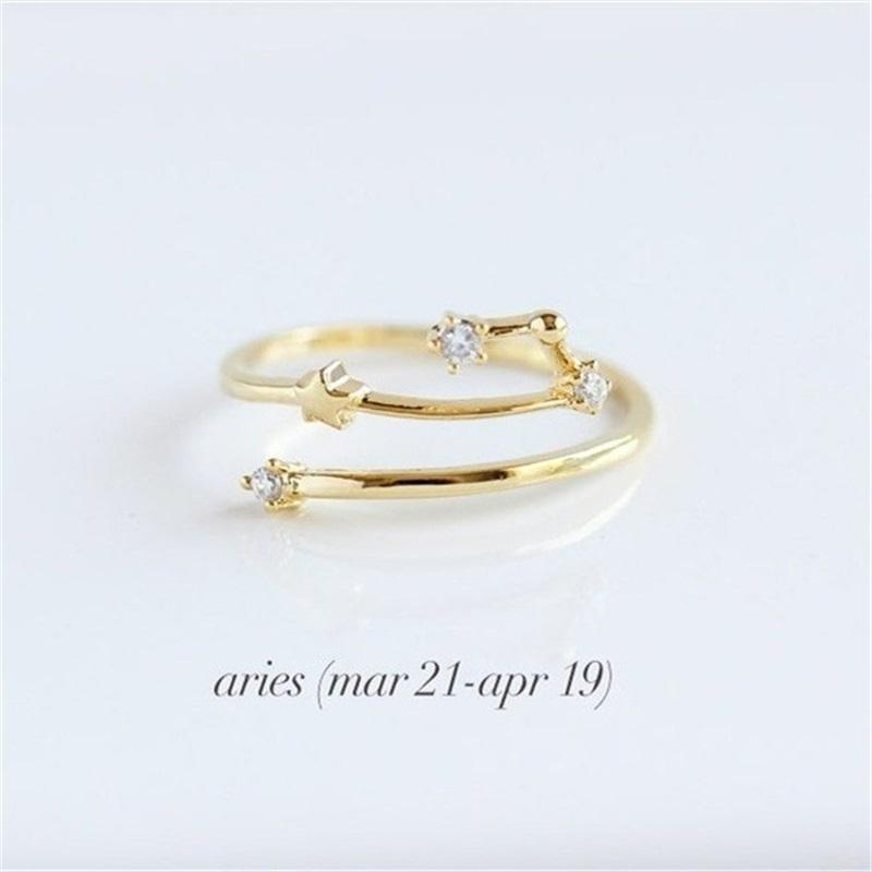 Women 12 Constellations Band Rings Rhinestone Amulet Zodiac Signs Gold/Silver/Rose Gold 3 Colors Fashion Anniversary Jewelry 331 G2