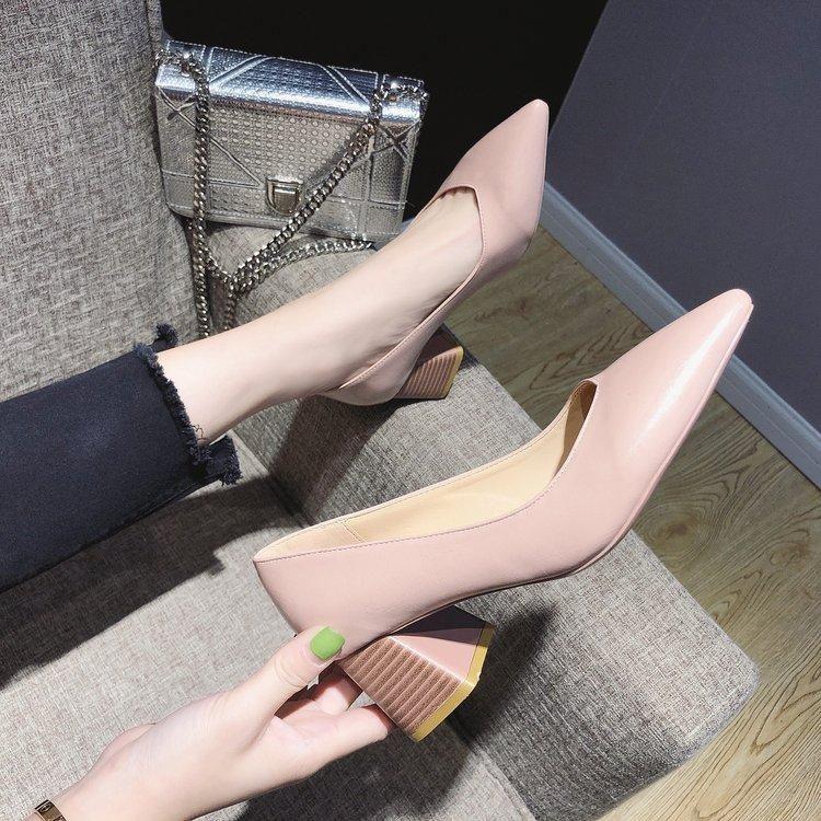 Kore sivri kalın topuklu ile kalın moda tek ayakkabı vahşi profesyonel kadın rahat iş elbisesi
