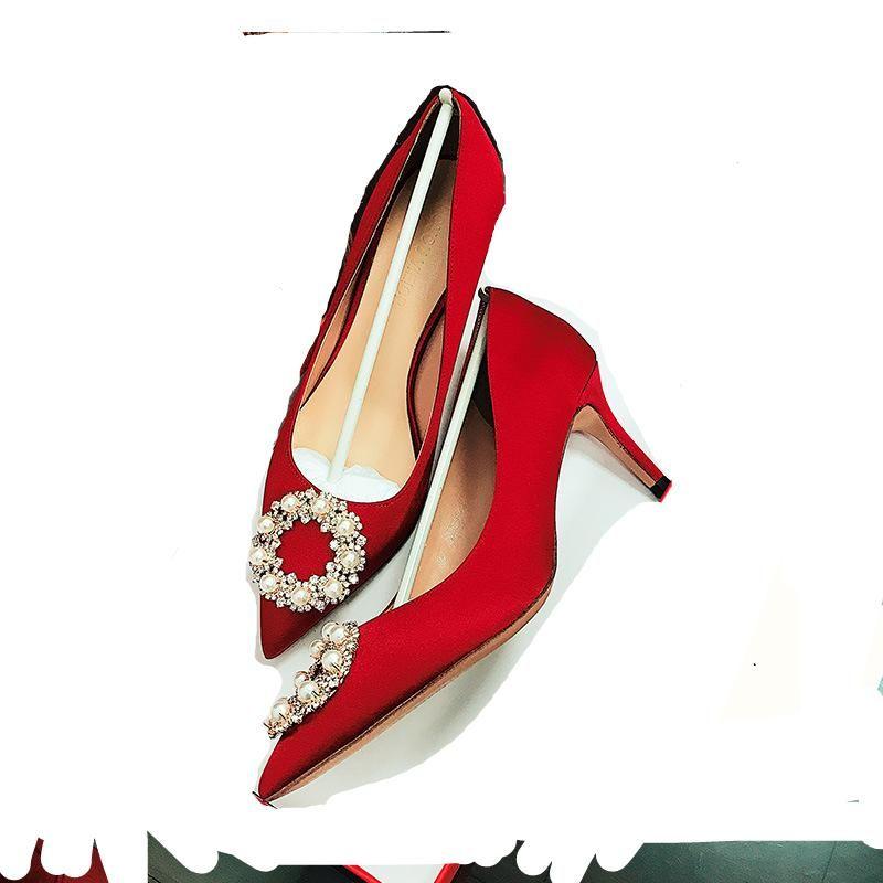 Kırmızı Düğün Ayakkabı 2021 Gelin Kadın Yüksek Ziyafet Topuklu Elbise