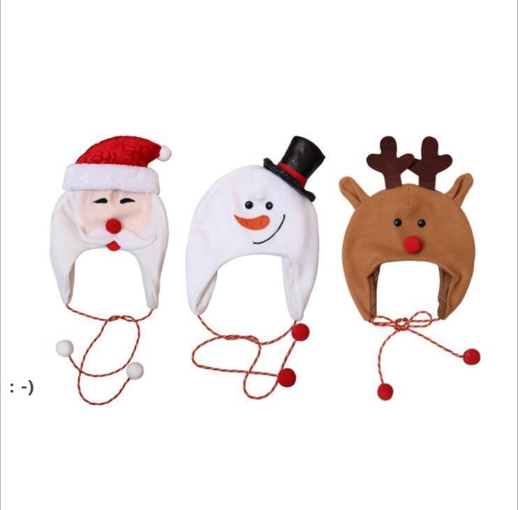크리스마스 모자 눈사람 사슴 산타 산타 모자 긴 밧줄 만화 따뜻한 귀걸이 모자 파티 의상 사진 소품 크리스마스 키즈 선물 OWD10281