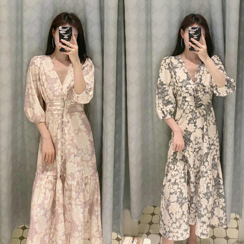 Носить повседневные платья австралийские женские меньшинства дизайн V-образным вырезом цветочный принт MIDI юбка средне длина платье