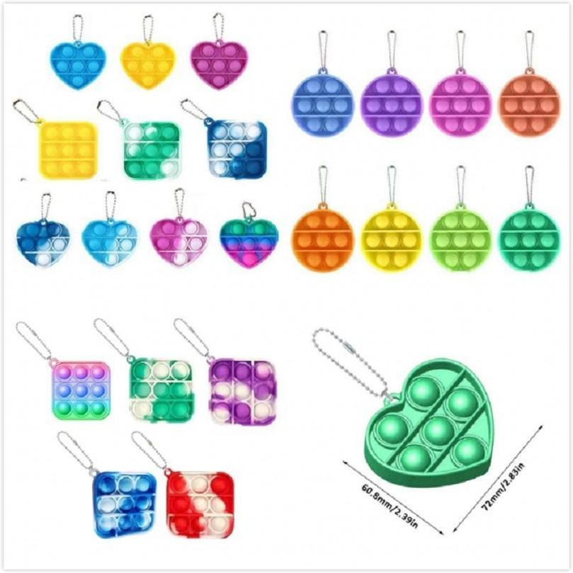 New Mini Push Bubble Sensory Toy Autism Needs Squishy Stress Reliever Toys Adult Child Funny Anti-stress It Fidget Keychain DHL Shipping