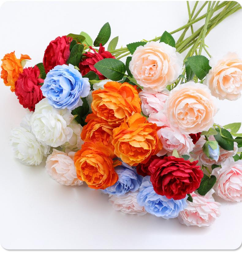 3 رئيس الساحرة الاصطناعي الفاوانيا زهرة للمنزل الطرف الزفاف الديكور الحرير الزهور العشاء الجدول المركزي ديكور الإمدادات