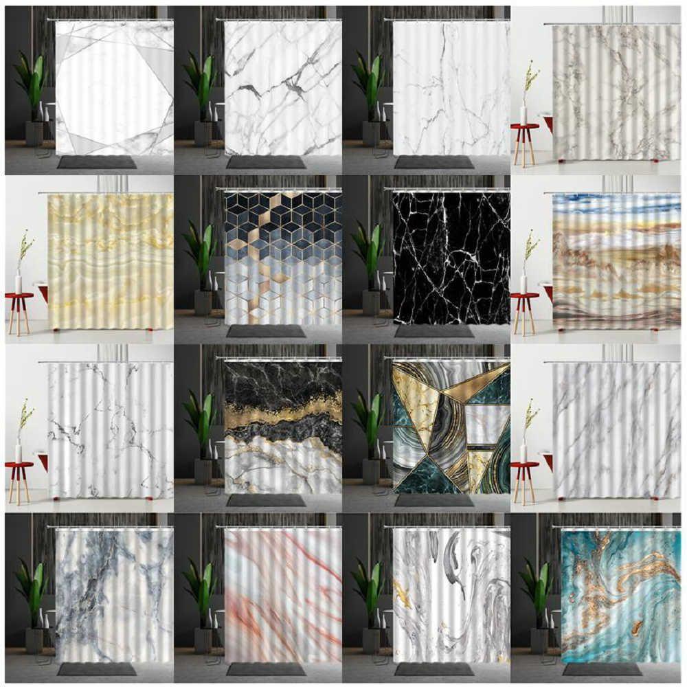 Marmor Dusche Vorhang Set Mehltau Proof Moderne Schlafzimmer Vorhänge Haushaltsprodukte Polyester Gewebe Kreativität Persönlichkeit 210609