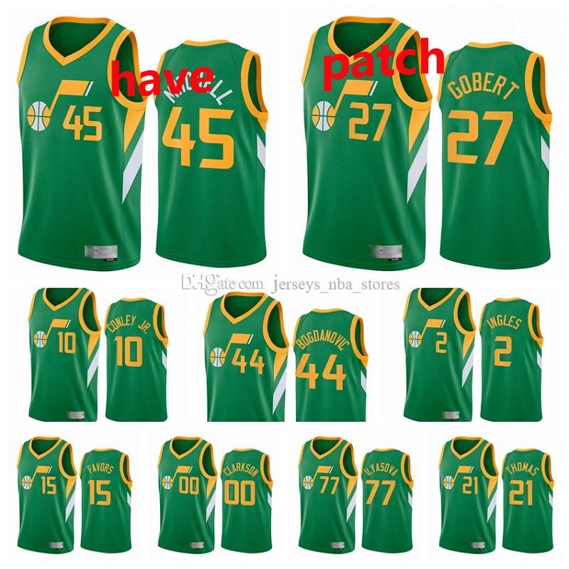 2020-21 Utahle jazzHommes Donovan Mitchell Rudy Gobert Bojan Bogdanovic Mike Conley Jr. Joe Ingles gagné Edition Green # 45 Basketball J