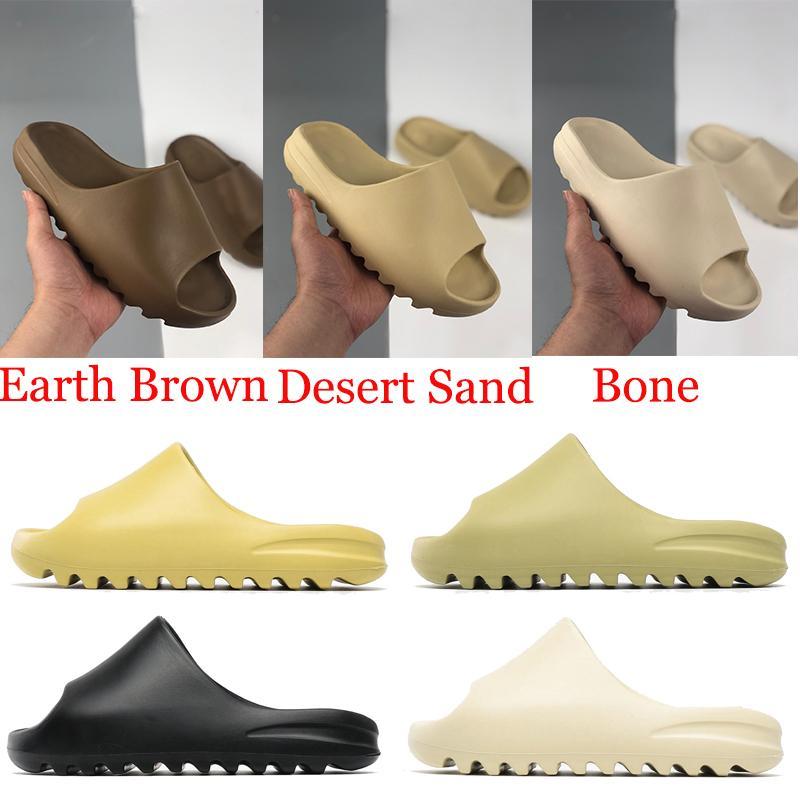 2021 رغوة عداء صندل manbasketballsoes شبشب العظام الأرض براون الثلاثي الأسود الأبيض الراتنج الصحراء الرمال الرجال النساء الشرائح الصنادل الأحذية حجم 36-45