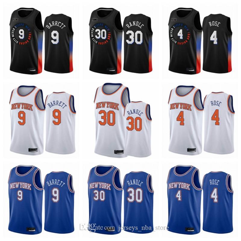 Obi Toppin RJ 9 Barrett Derrick Rose Julius Randle New YorkKnicksErkekler Black City 2020-21 Swingman Basketbol Forma Sürümü
