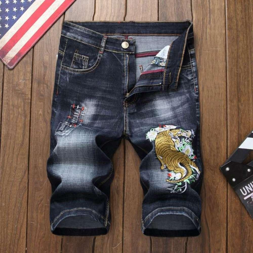 summer Style men Shorts jeans luxury Men denim trousers zipper Dragon pattern hole Straight Shorts jeans for blue and black