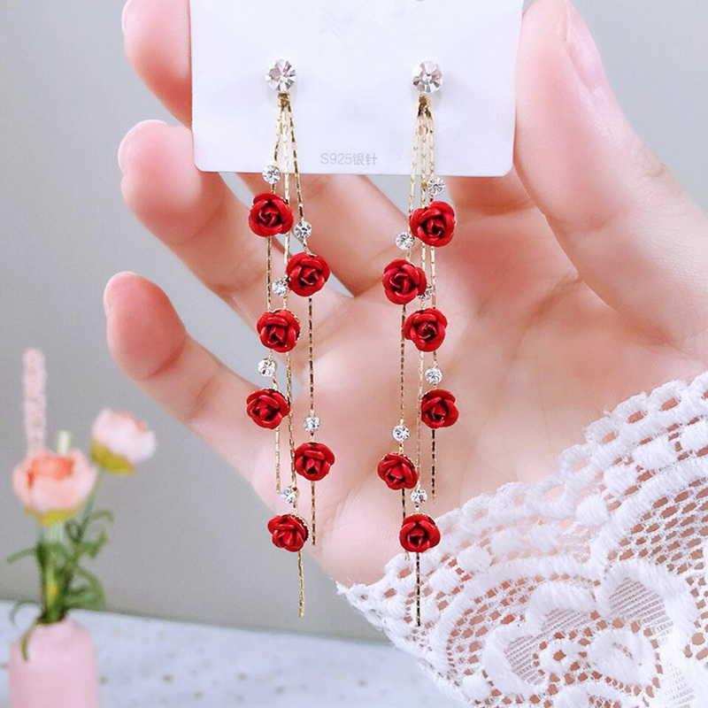 Rose Flower Rhinestone Long Borla Gota Brincos Para As Mulheres Piercing Dangle Brinco Moda Jóias Bijoux Y0709
