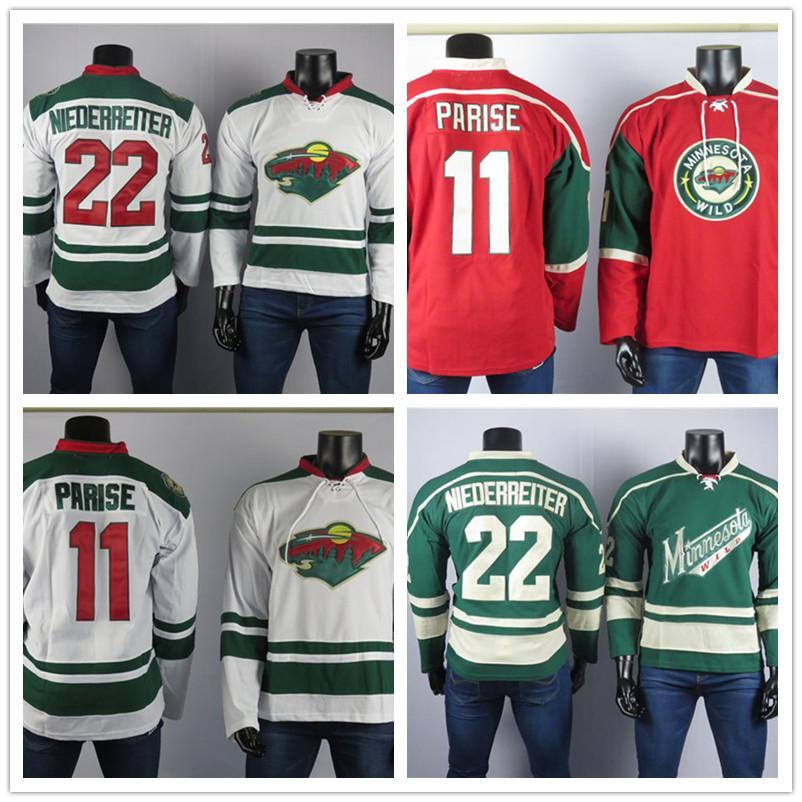 Minnesota Wild El mejor jugador de Jerseys 11 Zach Parise Jersey 22 Niederreiter Alta Calidad Bordado Hockey sobre hielo Hockey sobre hielo cosido