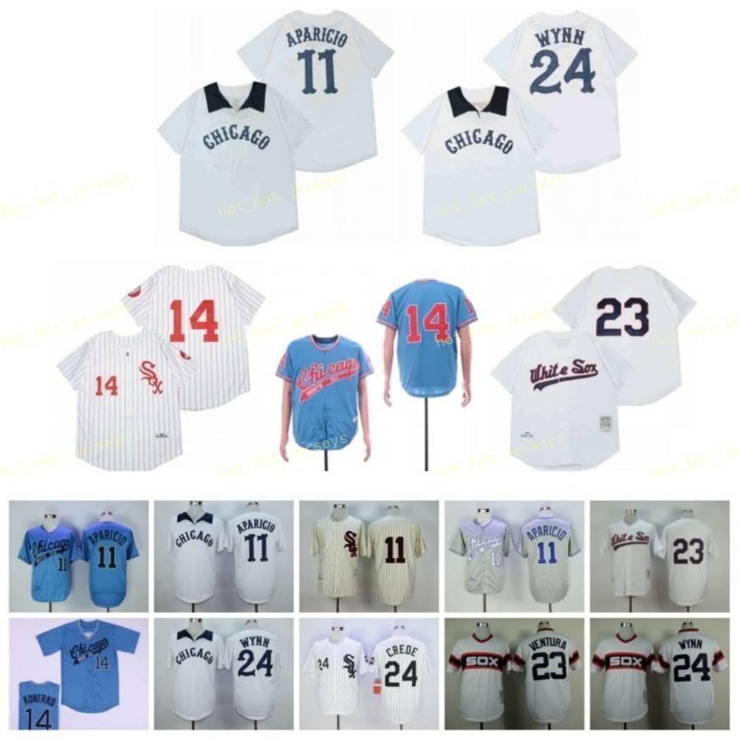 은퇴 한 11 aparicid baseball jersey 14 폴 Konerko 23 Robin Ventura 24 # Wynn 1959 1969 1983 1990 빈티지 레트로 쿠퍼스 타운 메쉬 스티치
