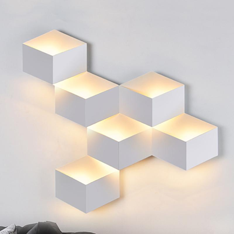30W/25W LED Wall Lamp Geometric Cube Light Wallmounted Night Lamps Bedroom Bedside Porch Decorative Lights Indoor Lighting