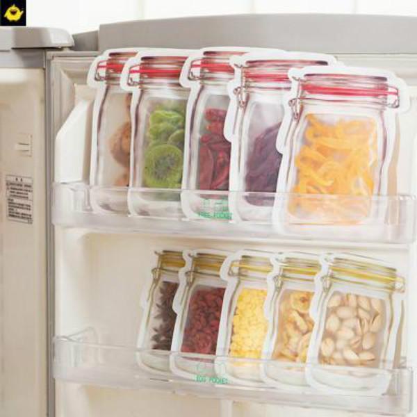 Nourriture réutilisable Sacs à glissière à fermeture à glissière de majuscule Mason Jar Snacks Sac à étanchéité Aurance Sac à l'épreuve des fuites Cuisine Organisateur Zze5745