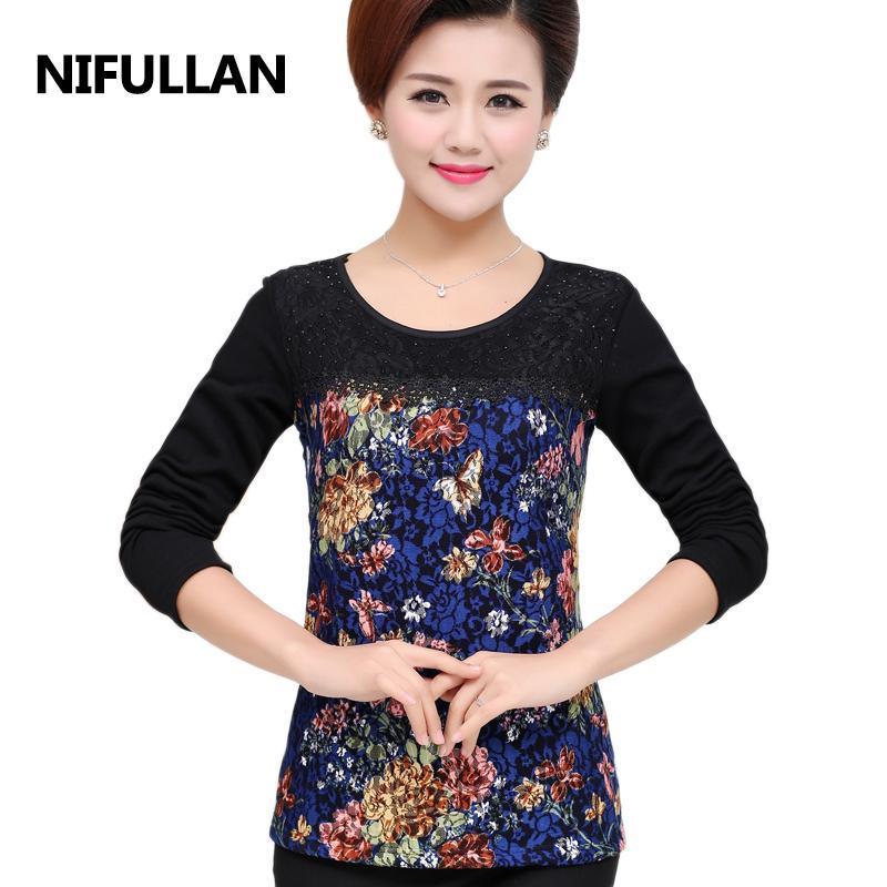 Fashion Long-Sleeve T-Shirt Women Spring Autumn Lace Basic Tee Shirt Femme Clothing Mother Plus Size O-neck Tops Women's