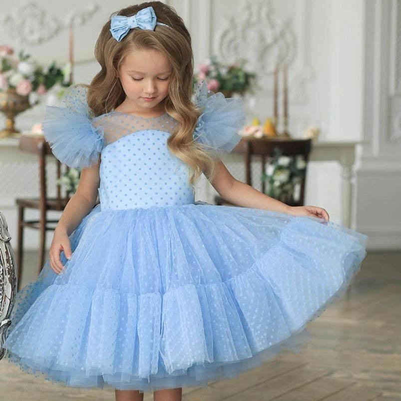 Girl's Dresses Baby Girls Princess Clothes Child Lace Short Sleeve Long Pettiskirt Dots Bowknot Tutu Party 1st Birthday Wear 1-7Y B4937
