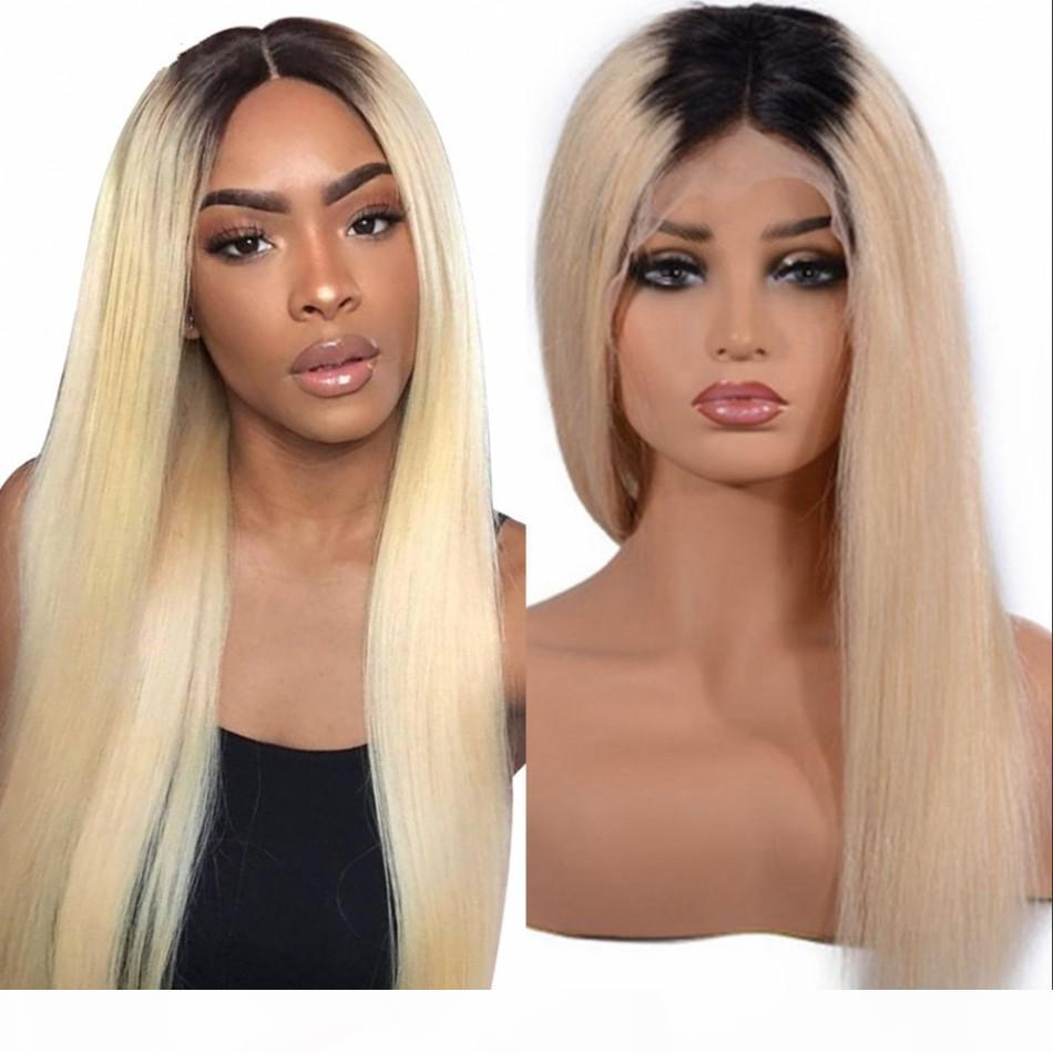 1B 613 Ombre Blonde Lace Front Wigs for Women 130% Peruvian Human Hair Straight Lace Front Wigs with Baby Hair