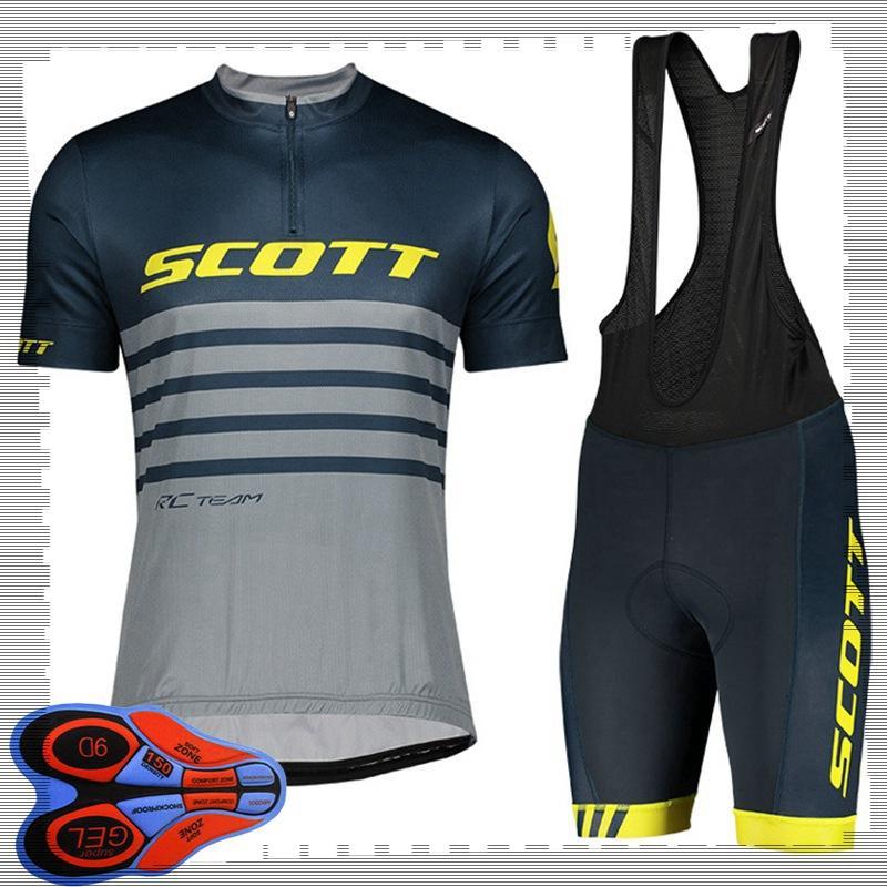 Scott 팀 사이클링 짧은 소매 저지 (Bib) 반바지 세트 망 여름 통기성 도로 자전거 의류 MTB 자전거 복장 스포츠 유니폼 Y21041495