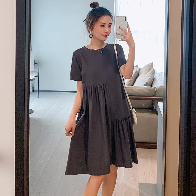 Maternity Dresses Clothes Skirt Summer Short Sleeve Round Neck Nursing Breastfeeding Gown Fashion Pregnancy Dress