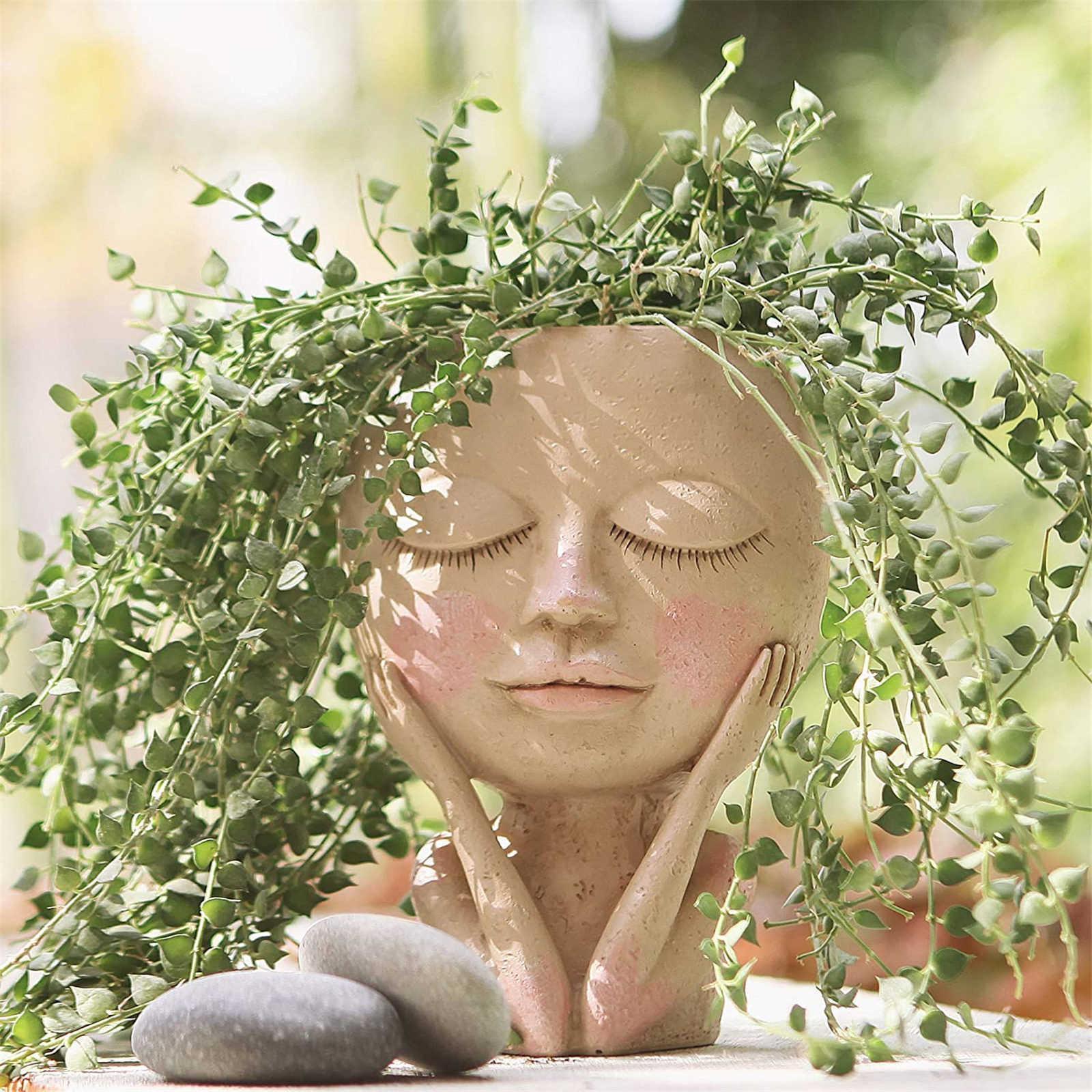 Girls visage visage plante plante plante succulente plante fleur pot pot pot flowerpot figure décor nordique décor nordique ornement h5 210615