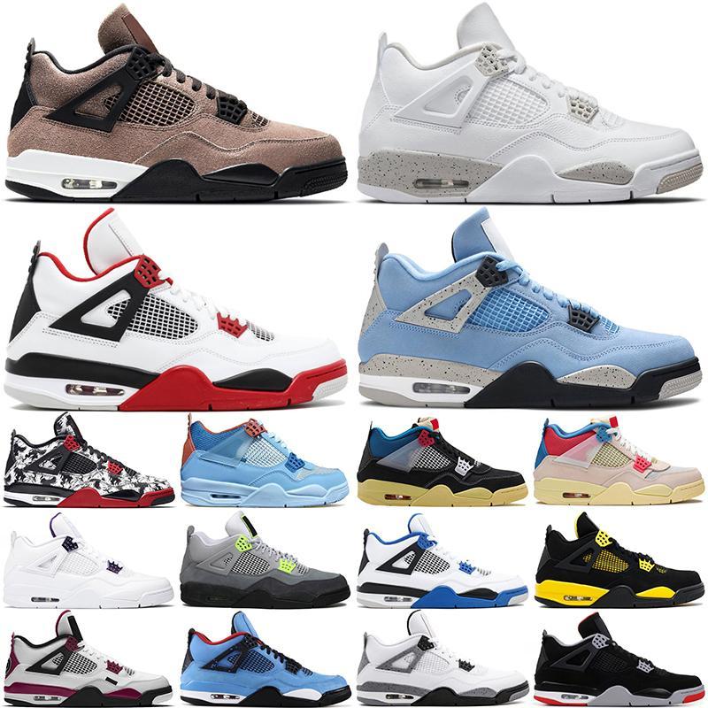 أحدث مع مربع 4 كرة السلةأحذية jumpman 4s الجامعة الأزرق النار الأحمر الأبيض أوريو توب هيز يونيون أحذية رياضية الرجال النساء الرياضة المدربين