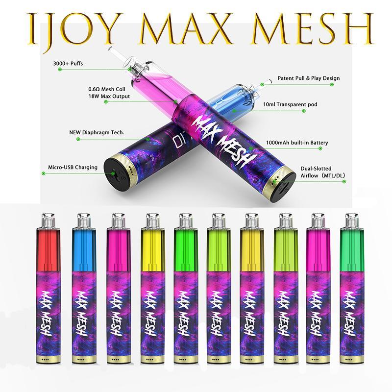 E-sigarette originali Iojoy Max Mesh 3000 Blows Deposibile Vape Ricaricabile con MASH Coil Air flow 10ml Pods 1000mAh Batteria Dual Slotted Loy XL XL