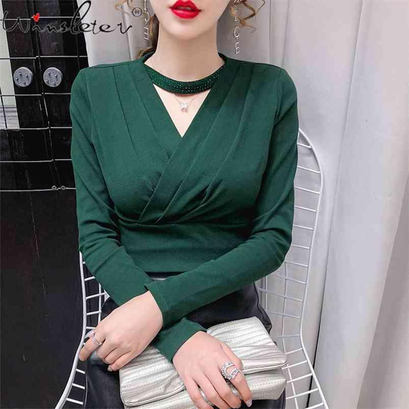 Kadınlar için Güz Kış Giyim Pamuk T-shirt Halter Çapraz Boyun Diamonds Katı Uzun Kollu Ince Sıkı TS010206A 210421 Tops