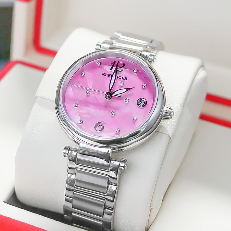 Wristwatches Reef Tiger/RT Design Luxury Stainless Steel Pink Dial Automatic Watches Women Rose Silver Strip Watch RGA1584