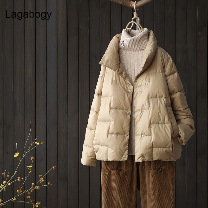 LagaBogy 2021 Femmes Courts Canard Blanc Down Manteaux Femelle Lâche Ultra Lumière Eductionnelle Parkas Cause Puffer Jacket Outwear Femmes