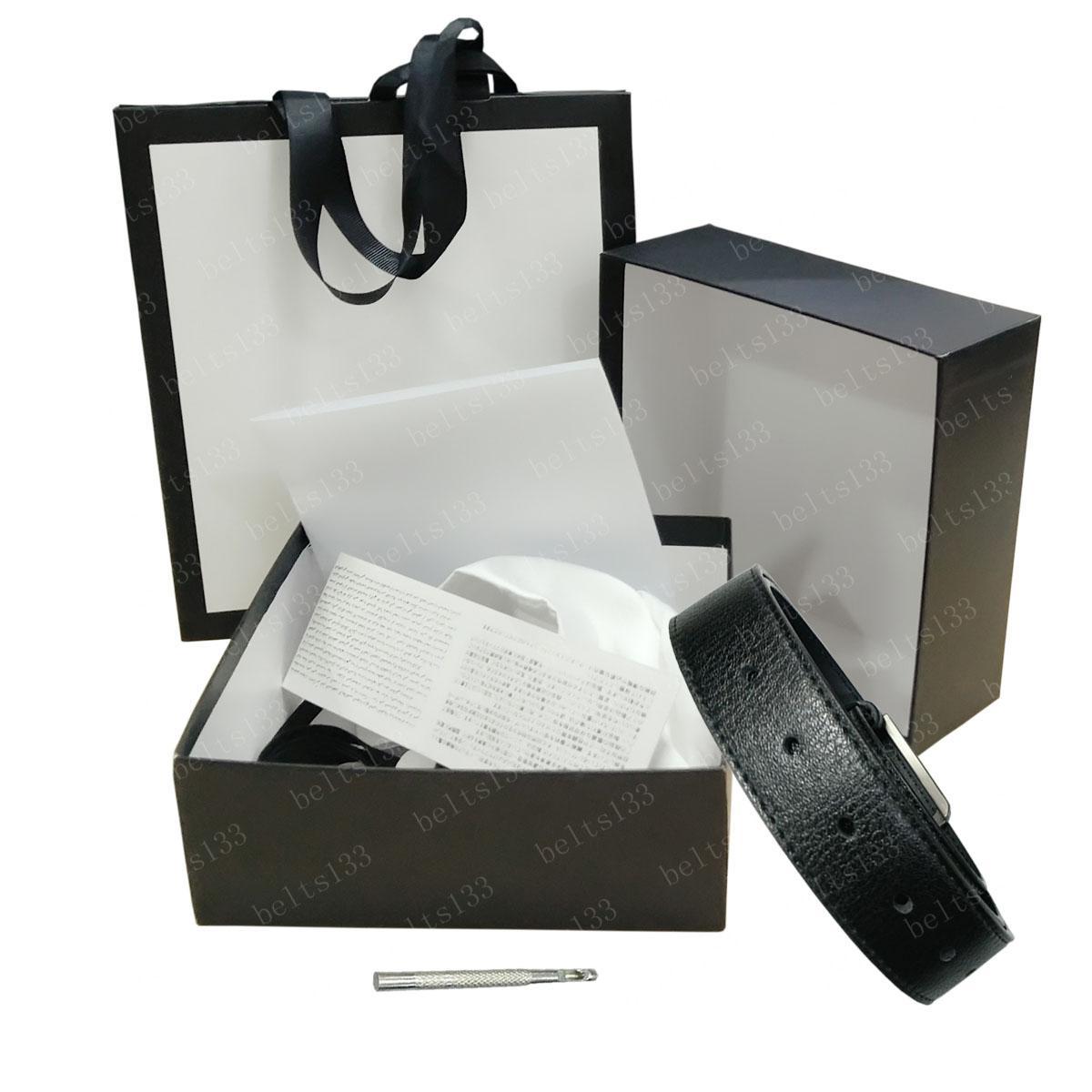 أحزمة حزام للرجال نساء جلد أسود مشبك الذهب مع حقيبة الغبار الأبيض مربع كبير وبطاقات الأفعى سوب 3.8 سنتيمتر # OG03