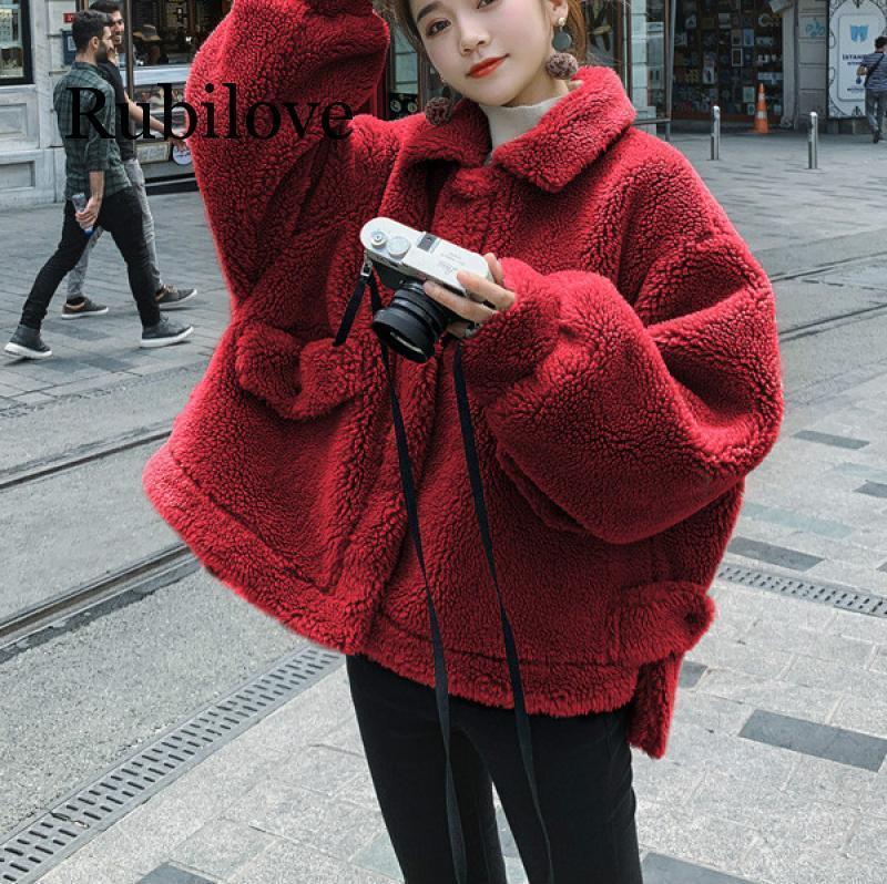 2021 Giacca imbottita in forma sciolta invernale irregolare ad altezza corta ad altezza corta lana cappotto donna