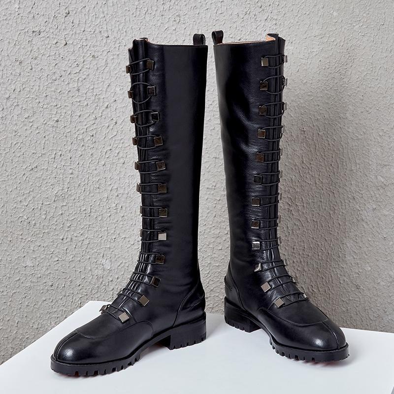 Botas Mujeres Elegante punta puntiaguda cuero genuino grueso tacón alto zapatos de damas dentro de la cremallera rodilla-alta