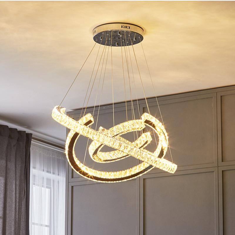 Moderno cristal LED de acero inoxidable de acero inoxidable / plata 3 anillo redondo led araña araña nórdica arte colgante luz colgante lámpara