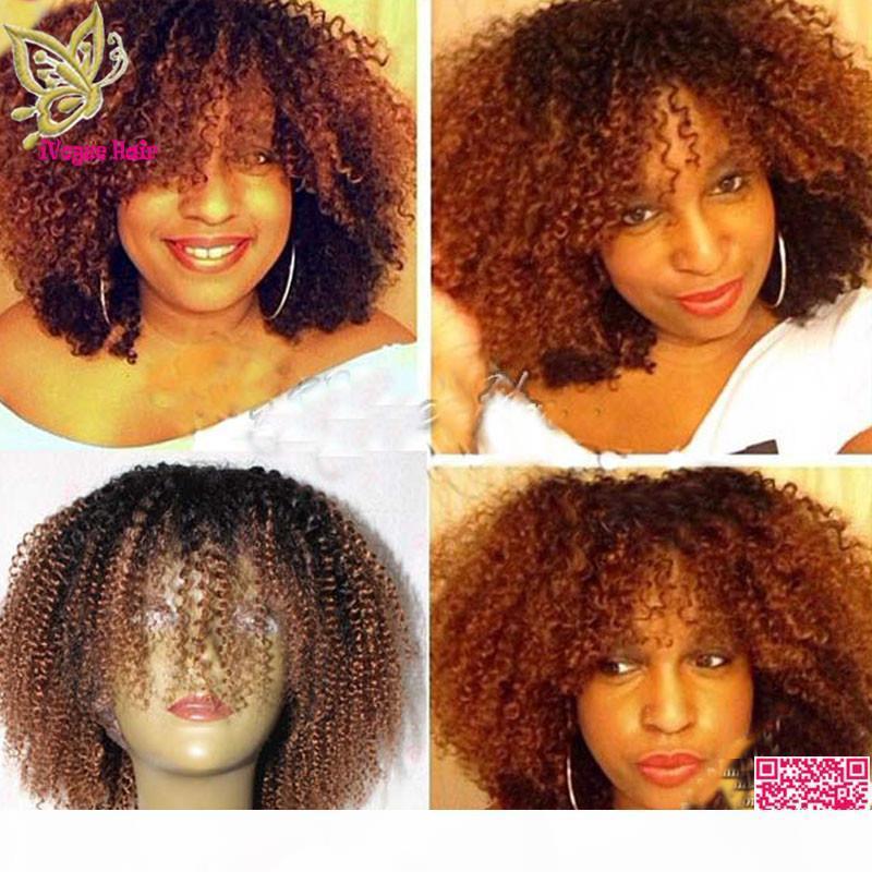 Orta Auburn Ombre Tam Dantel Peruk İnsan Saç Brezilyalı İnsan Saç Afro Kinky Kıvırcık Dantel Ön Peruk Siyah Kadın Için İki Ton Renk