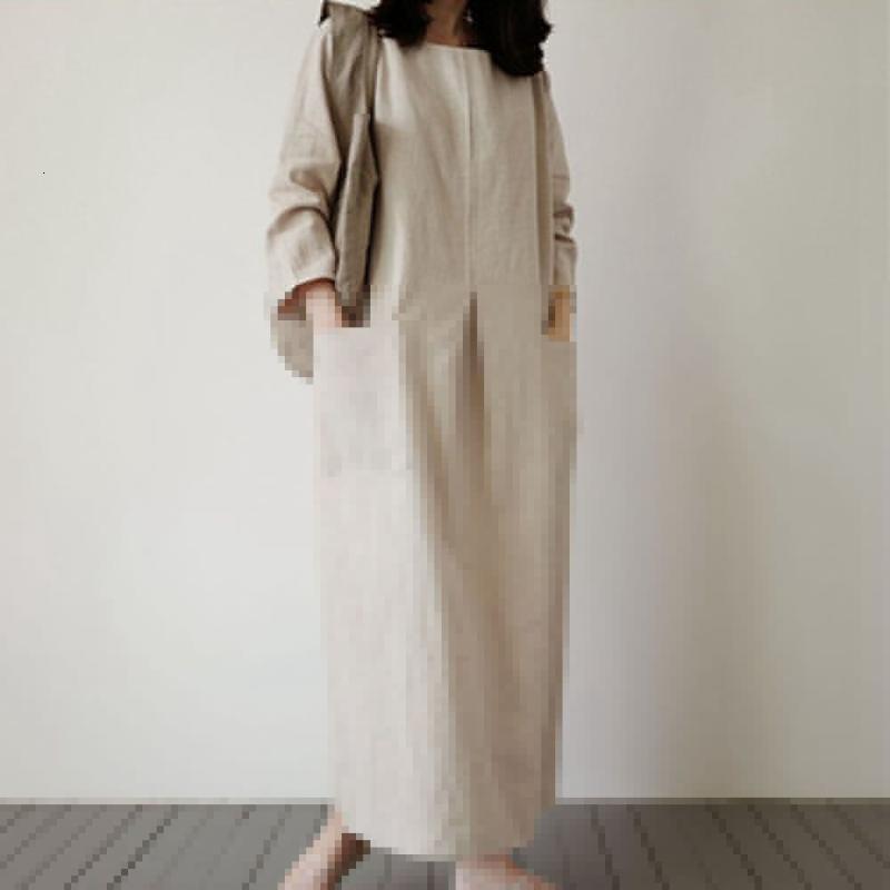 Kleid 2021 Stil Drei-Viertel-Ärmel-Damen-Mode-Pullover mit Maxi-Länge-Taschen Plain H-Line Straight Casual-Kleider
