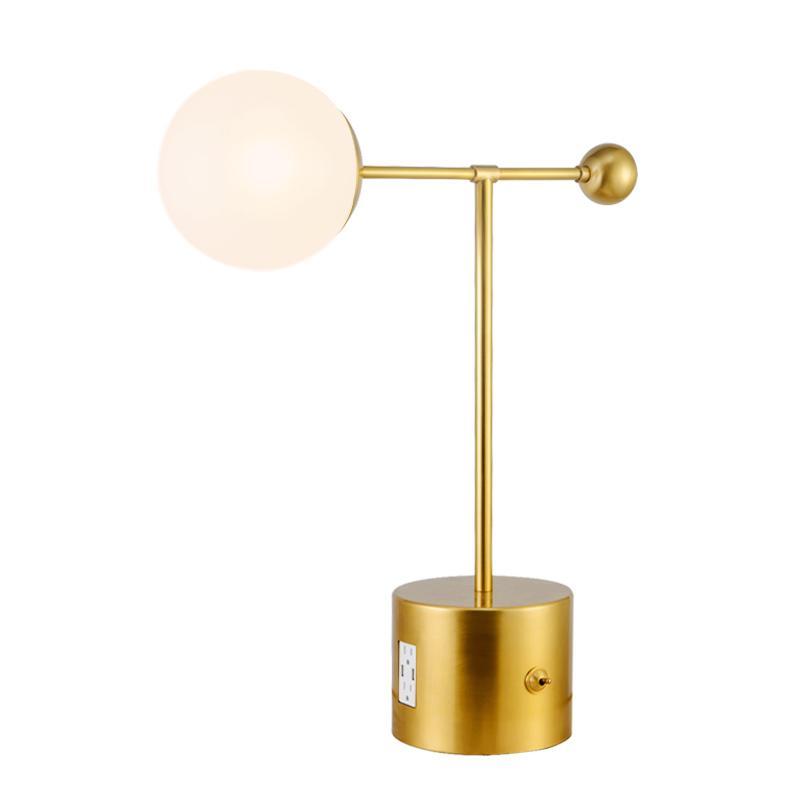 Led lamp usb for hotel simple design globe bronze Nickel plating modern lights luxury design desk lamp with usb charging port