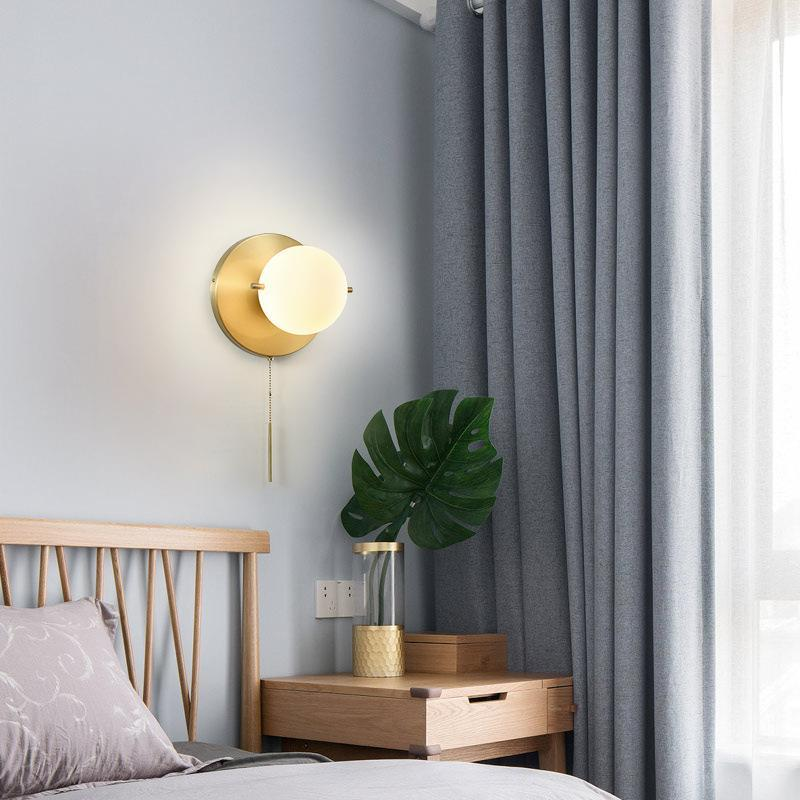 북유럽 LED 유리 벽 램프 거실 장식 실내 조명 Sconces와 풀 스위치 전등 설비 침실 침대 머리맡 램프