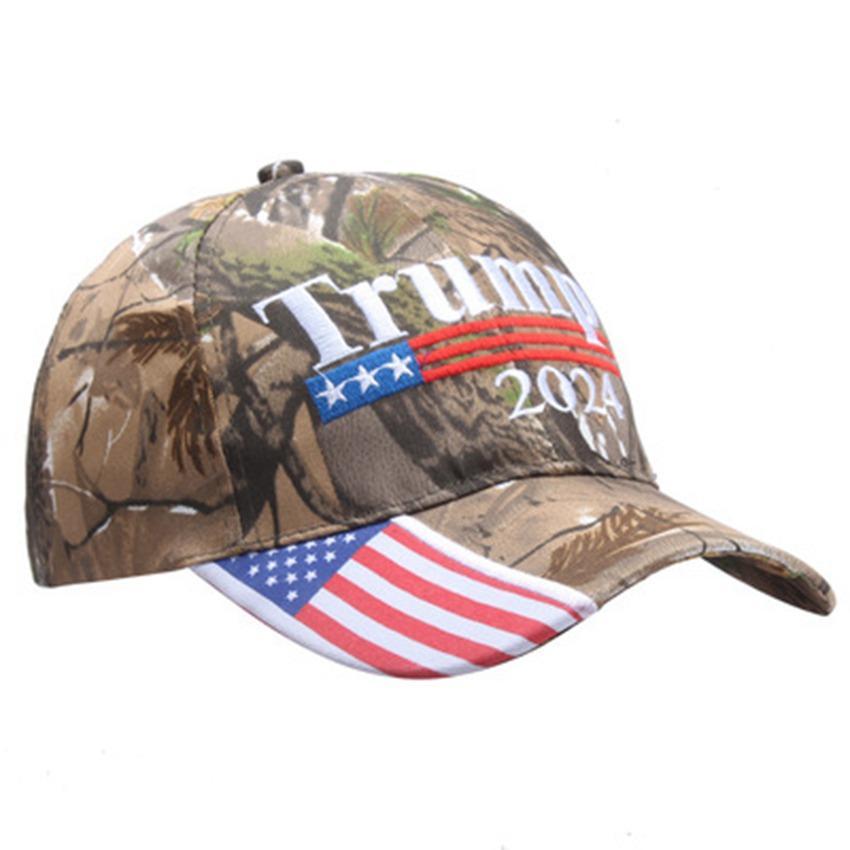 Donald Trump 2024 Berretti da baseball Camouflage US Presidential Election Cappelli regolabili Sport all'aperto Camo Trump Hat Cyz3152