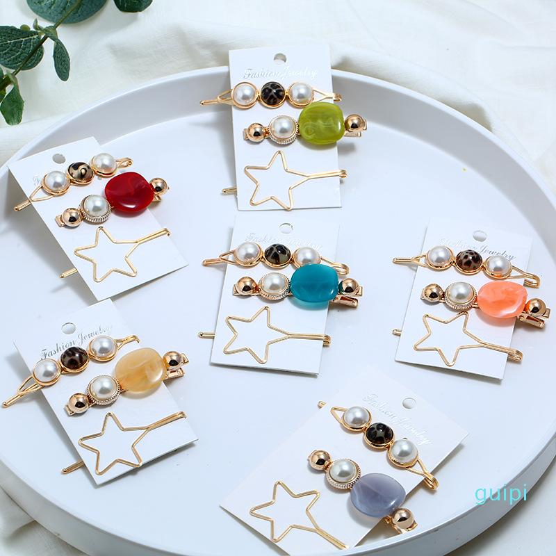 New 3Pcs/Set Pearl Metal Hair Clip Hairband Comb Bobby Pin Barrette Hairpin Headdress Accessories Beauty Styling Tools