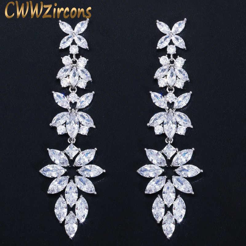 CWWZIRCKONS Mode Cubic Zirkonia Lang baumelnde Blatt Drop Ohrringe Für Frauen Braut Hochzeit Engagement Kleid Schmuck CZ572 A0527