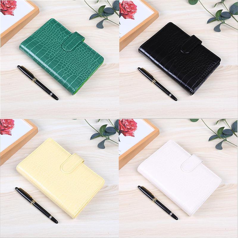 Crocodile Modèle Notebook Binder A6 Cuir Soft Soft Notepad Couverture Macaron Color Journal Journal Classeurs avec Snap