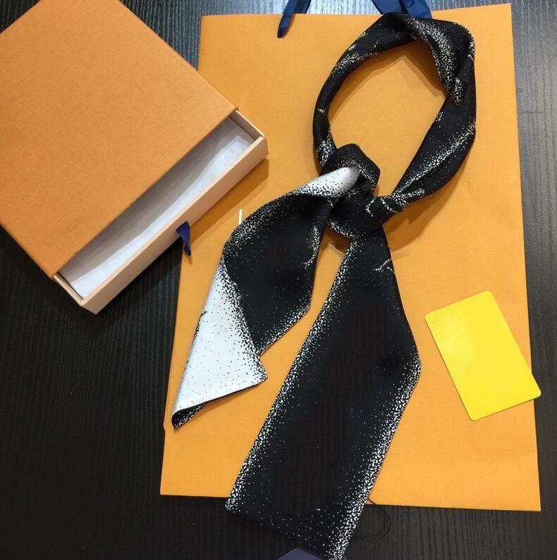 Kadınlar için Moda Tasarımcı Eşarplar Kare Atkılar Boyun Cravat Bantlar Süper Yumuşak Üst İpek Kurdela Saç Bantları 120 * 8 cm 10 Stilleri Yüksek Kalite