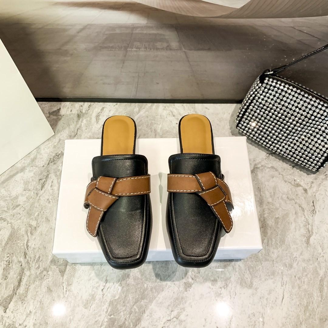2021 Haute Qualité Semi-pantoufles Semi-pantoufles Solid Cuir Vintage Appartements Femme Femme Marron Classic Knot Cuir Décoratif Scuffs 34-40 Silpper