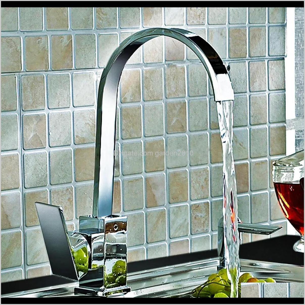 Faucets Kitchen Sink Faucet Mixer Tap Swivel Spout Chrome Brass Square Single Lever Mono Pzjps Ytjz4