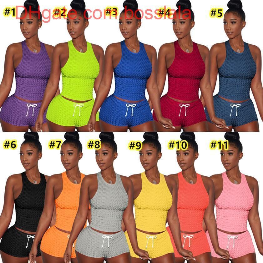 S-XXL الصيف المرأة مثير قصيرة مجموعة ملابس قطعتين مجموعة رياضية عداء ببطء الدعاوى خزان أعلى + السراويل الصلبة لون sweatsuit