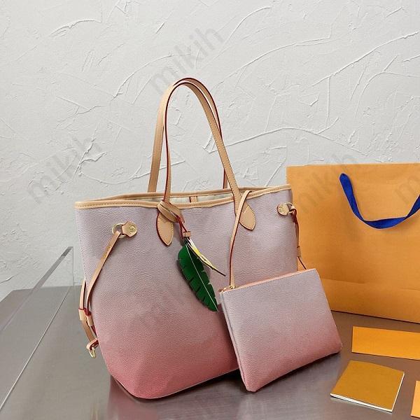 Top de alta qualidade bolsa bolsa para fora das mulheres totes bolsas gradient cor design clássico logotipo grande capacidade de duas peças moda saco