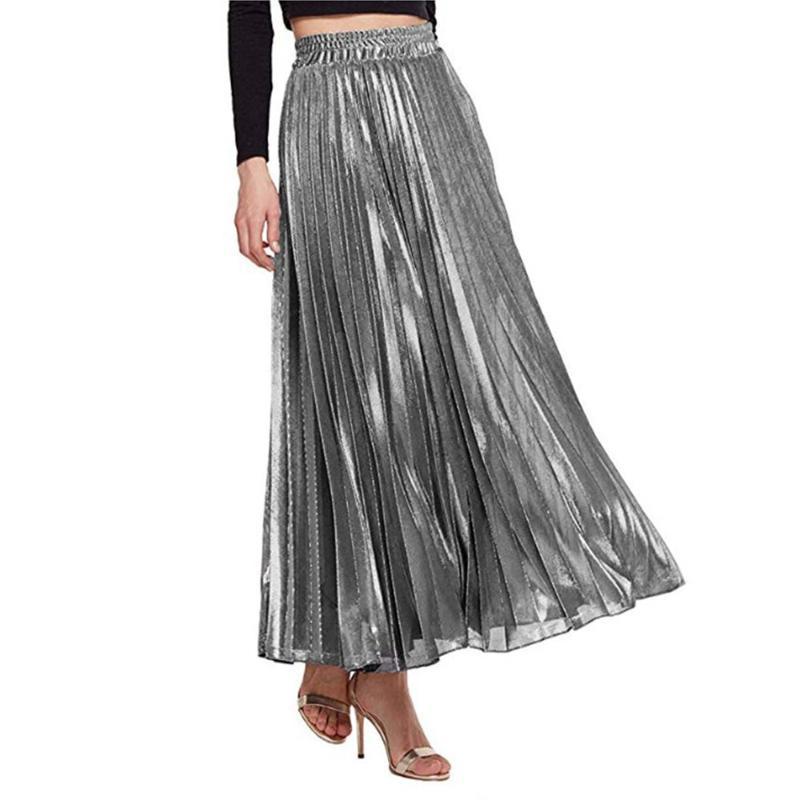 Röcke gefalteter Rock mit hoher Taille-großer saum-straßenstil metallischer fester a-line knöchellänge lang