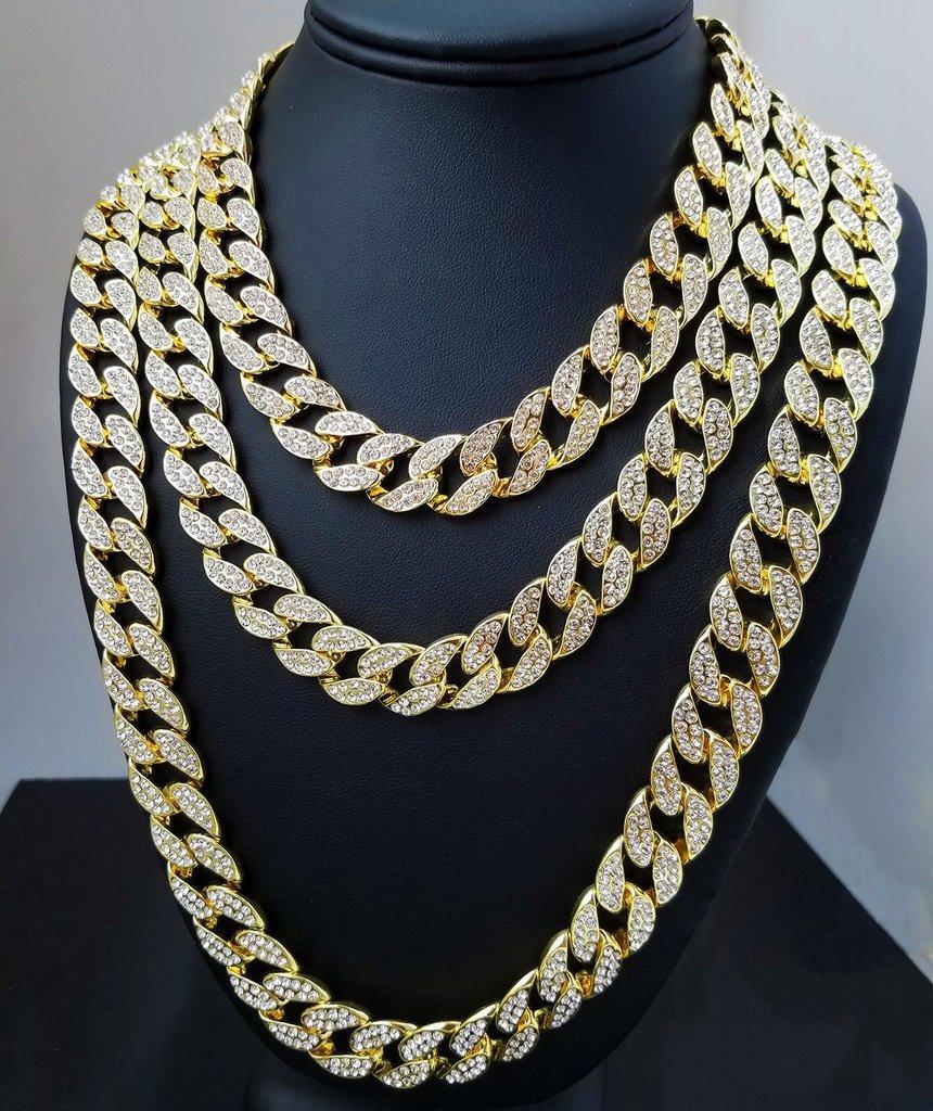 Iged خارج ميامي الكوبي ربط سلسلة الذهب والفضة الرجال الهيب هوب قلادة مجوهرات 16 بوصة 18 بوصة 20 بوصة 22 بوصة 24 بوصة 26 بوصة 28 بوصة 28 بوصة 30 بوصة
