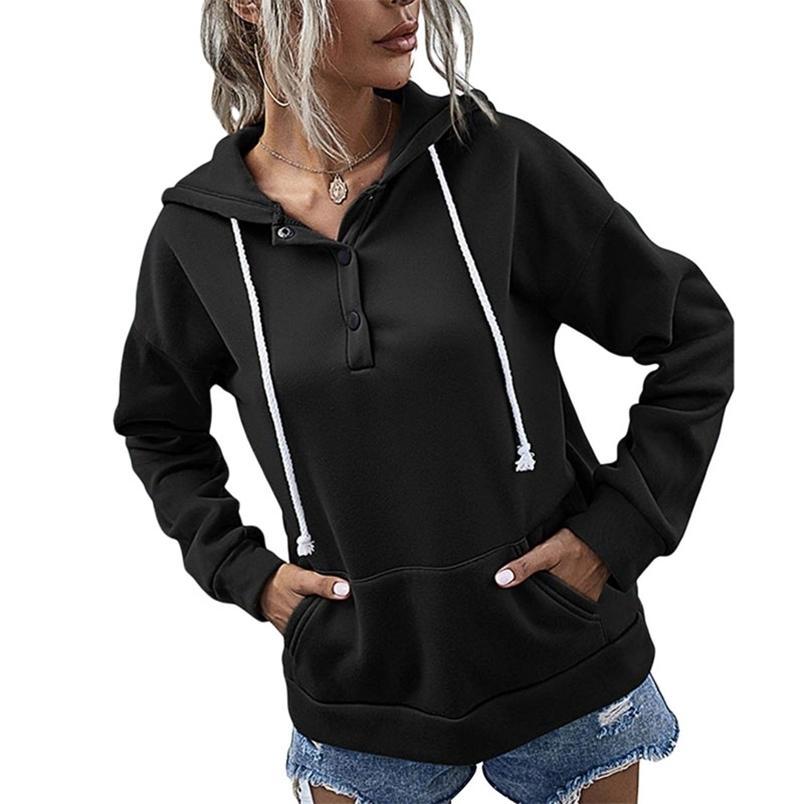 Le donne con cappuccio tasca tasca tascabile decorato a tutta lunghezza manica regolazza con cappuccio elegante moda coulisse con coulisse Top 210522