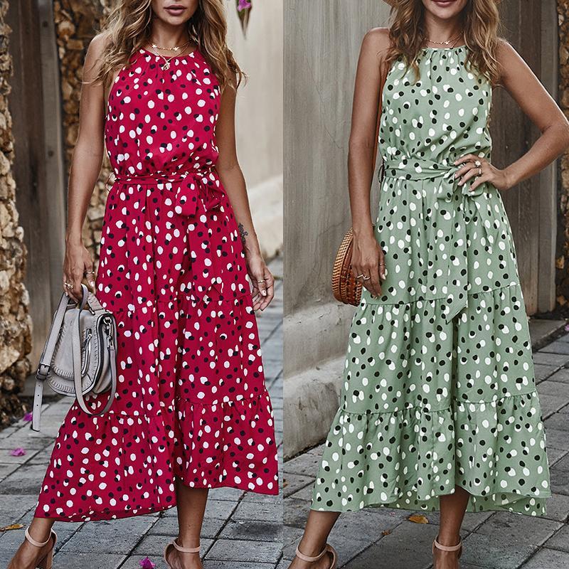 Günlük Elbiseler Polka Beyaz Nokta Kadın Yaz Plaj Elbise Bobo Moda Maxi Uzun Marka Kısa Kollu Gevşek Bağbozumu