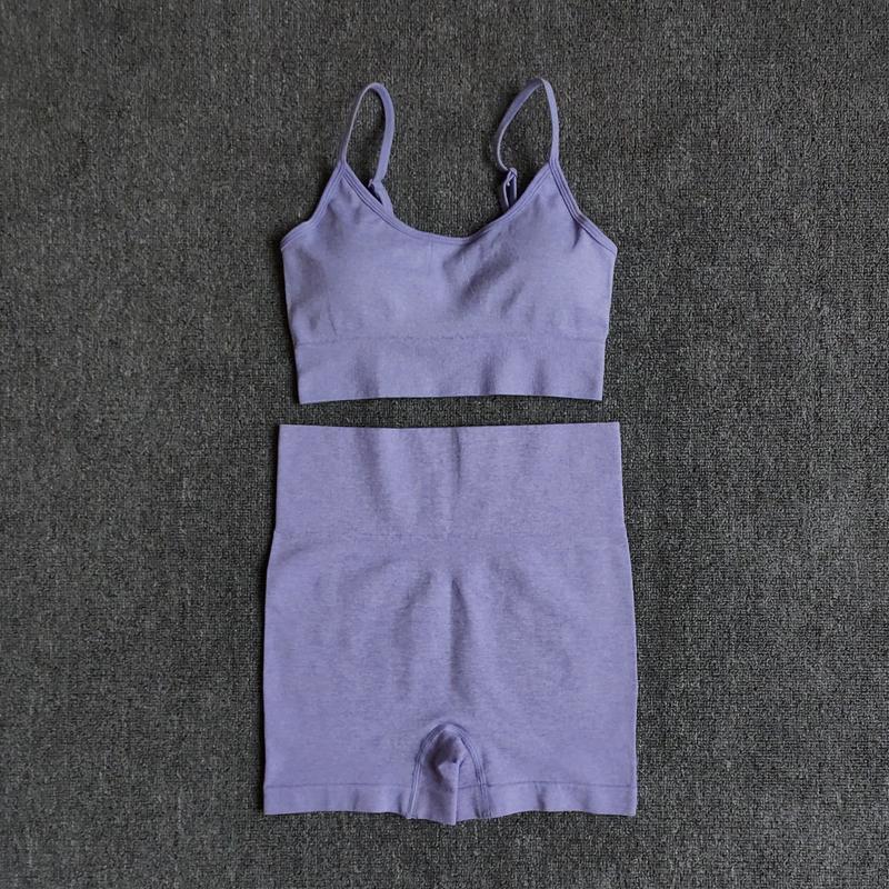 6 colores Sports Traje Set Sin costuras Yoga Set Femenino Entrenamiento Ropa Medio Soporte deportivo Sujetador + Cintura alta Gimnasio Pantalones cortos Ropa deportiva